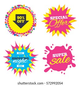 Sale splash banner, special offer star. 90% sale arrow tag sign icon. Discount symbol. Special offer label. Shopping night star label. Vector