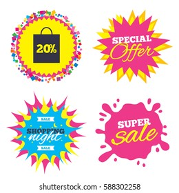Sale splash banner, special offer star. 20% sale bag tag sign icon. Discount symbol. Special offer label. Shopping night star label. Vector