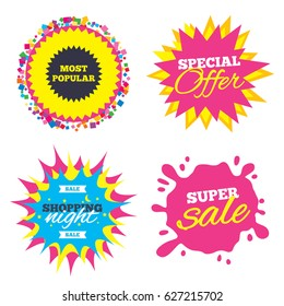 Sale splash banner, special offer star. Most popular sign icon. Bestseller symbol. Shopping night star label. Vector