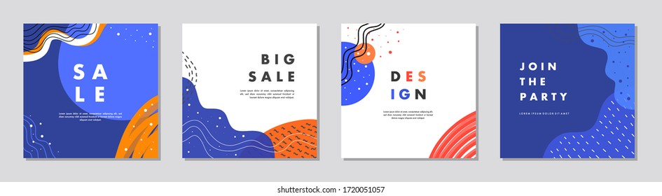 Sale square banner template for social media posts, mobile apps, banners design, web or internet ads. Trendy abstract square template with colorful concept.