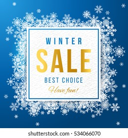Sale square banner with white snowflakes on blue background