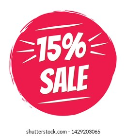 Sale sticker 15% offer badge. Sale offer red brush circle stamp price sign. Discount sale price tag. Offer sale red label, price tag. Vector illustration. 15 percent reduction symbols.