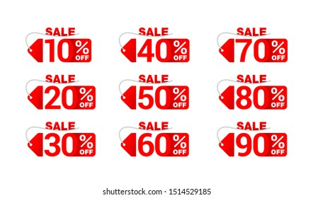 Sale sticker big set in paper tag form with rope and different percentage -  10%, 20%, 30%, 40%, 50%, 60, 70, 80 and 90 percents off - isolated vector elements