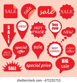 Sale sticker icon set