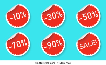 Sale sticker icon set isolated on a blue background. Red color special offer, discount tag. Simple realistic design. Flat style vector illustration.