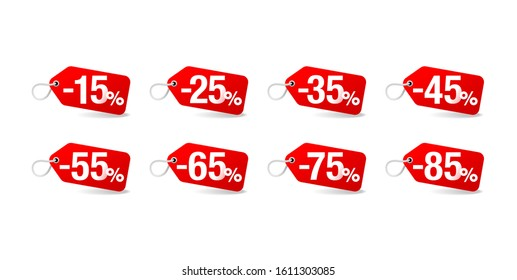 Sale sticker set in paper tag form with rope and different percentage -  15%, 25%, 35%, 45%, 55%, 65, 75 and 85 percents off - isolated vector elements