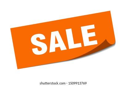 sale sticker. sale square isolated sign. sale. orange paper label on white background