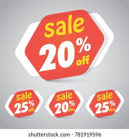 Sale Sticker Tag for Marketing Retail Element Design with 20% 25% Off. Vector Illustration.