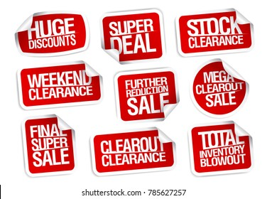 Sale stickers collection - super deal, stock clearance, huge discounts, weekend clearance, etc.