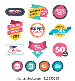 Sale stickers, online shopping. speech bubble icon. Black friday gift box symbol. shopping bag. Low price arrow sign. Website badges. Black friday. Vector