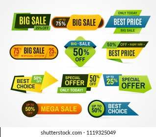 Sale stickers. Price tag label. Banner sticker or special colorful abstract flyer for mega big special cheap web sales badge. Graphic for offer labels design template vector isolated symbol collection