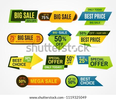 sale stickers price tag label banner のベクター画像素材