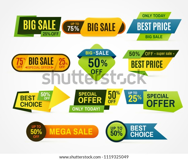 Sale Stickers Price Tag Label Banner Stock Vector Royalty