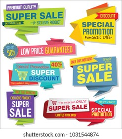 Sale stickers and tags colorful collection vector illustration