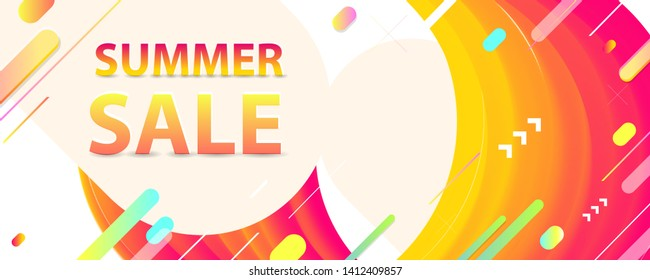 Sale summer backgrounds colorful 3d holiday vector Illustration graphic design poster flyer leaflet party art new