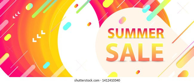 Sale summer backgrounds colorful 3d holiday vector Illustration graphic design poster flyer leaflet party