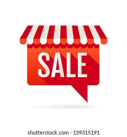 Sale symbol. Speech bubble with awning