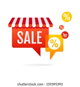 Sale symbol. Speech bubbles with awning