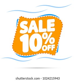 Sale tag 10% off, banner design template, app icon, vector illustration