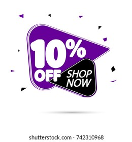 Sale tag 10% off, shop now, banner design template, app icon, vector illustration