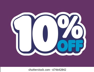 Sale tag, 10 percent off, isolated sticker, poster design template, vector illustration
