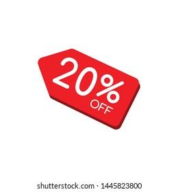 Sale tag with 20% discount isolated on white background. 20% off sale. Vector illustration. - Vector can change color