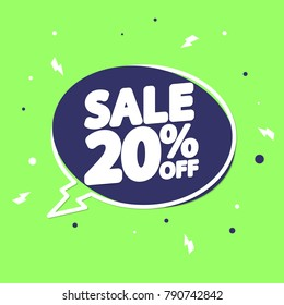 Sale tag 20% off, discount speech bubble, banner design template, vector illustration