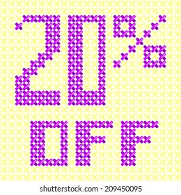 Sale tag 20 % off knitted background cross stitch texture