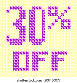 Sale tag 30 % off knitted background cross stitch texture