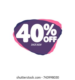 Sale tag 40% off, discount speech bubble banner, element design template, app icon, vector illustration