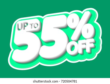 Sale tag, up to 55% off, isolated sticker, poster design template, vector illustration