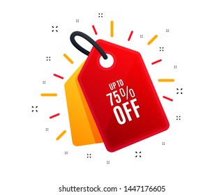 Sale tag. Up to 75% off Sale. Discount offer price sign. Special offer symbol. Save 75 percentages. Shopping banner. Market offer. Vector