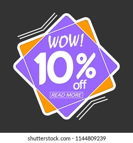 Sale tag, banner design template, wow discount 10% off, vector illustration