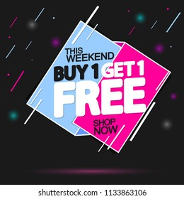 Sale tag, Buy 1 Get 1 Free, banner design template, app icon, vector illustration