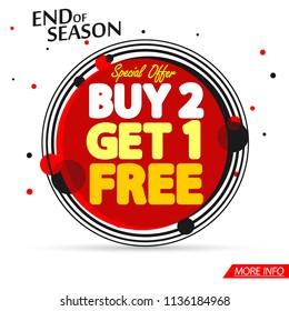 Sale tag, Buy 2 Get 1 Free, banner design template, end of season, special offer, app icon, vector illustration