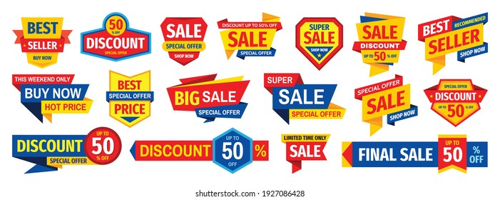 Sale tag design badge set. Discount abstract banner collection. Special offer, best price, buy now concept stickers. Clearance graphic messages. Vector illustration.