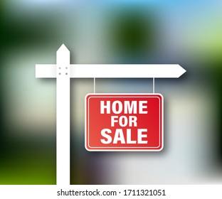 Sale tag. Home for sale sign for marketing design. Vector stock illustration