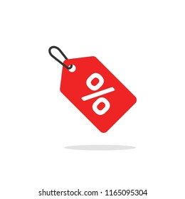 Sale tag icon vector, flat cartoon discount label red colored on rope, clearance symbol, special deal clearance sale tab isolated