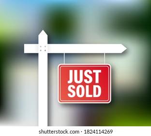 Balise de vente. Je viens de vendre un panneau pour le design marketing. Illustration vectorielle de stock.