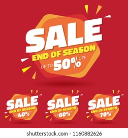 Sale Tag Marketing Retail Element Design with Multiple Discount Set - Vector