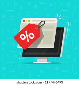 Sale tag on computer screen vector illustration, flat cartoon pc with promotion or discount offer on web page browser window, idea of internet shop sale, special deal icon