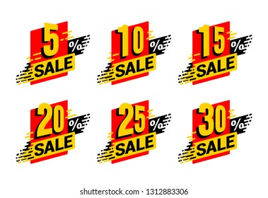 Sale tag  - percentage label for offers - 5%, 10%, 15%, 20%, 25% and 30 percents off