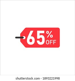 Sale Tag with pie chart diagram icon. 65 percent sale black isolated with shadow. Flat design style. vector illustration