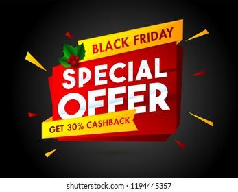 Sale tag or ribbon with 30% cashback offer on black background for Black Friday Sale poster or banner design.