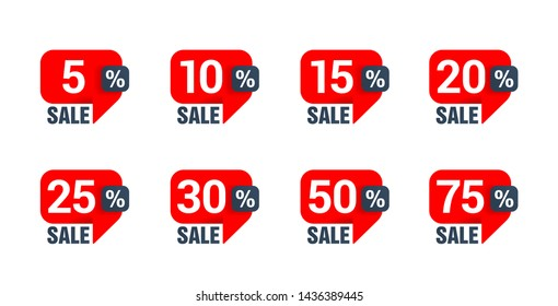 Sale tag set in dialog box (message bubble) form with arrow down and different percentage - 5%, 10%, 15%, 20%, 25%, 30% 50% and 75% - vector elements
