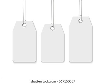 Sale tag set. Realistic vector template of blank paper price label isolated on white background