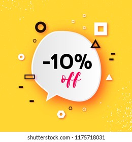 Sale tag, Special offer banner template. Trendy Geometric quote elemets Frame for text in paper cut style. For brochure, flyer or presentations design. Simple geometry. Yellow.