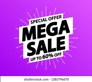 Sale tag. Special offer, big sale, discount, best price, mega sale banner. Shop or online shopping. Sticker, badge coupon store Vector Illustration
