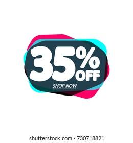 Sale tag, speech bubble banner, 35% off, element design template, app icon, vector illustration
