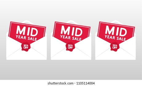 sale tag vector. label. mid year sale. mail vector. free space for text. wallpaper. background.